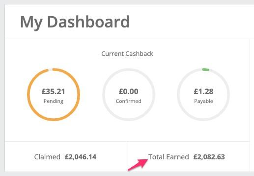 TopCashback earnings proof