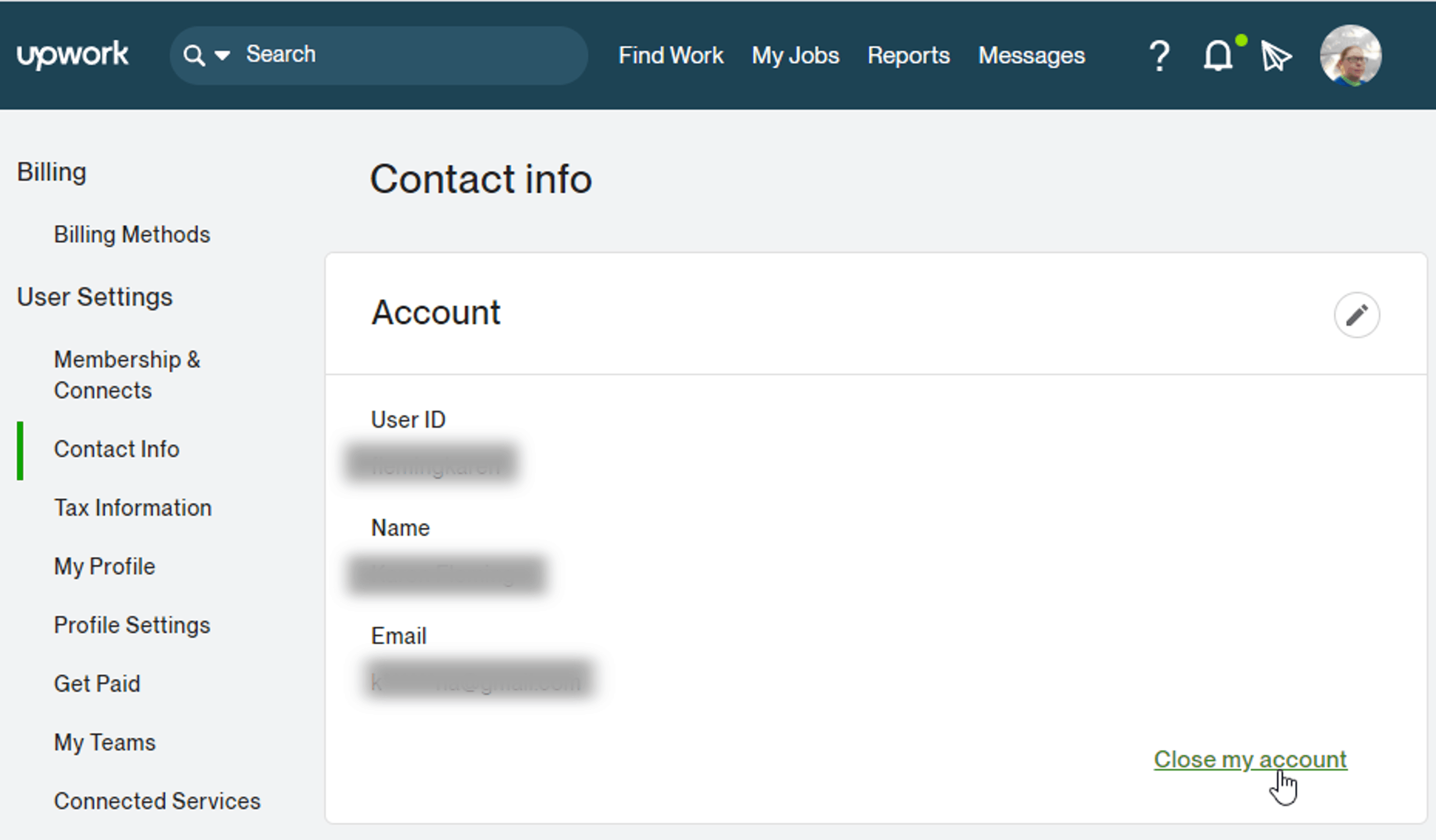 Step 1 to delete your Upwork account