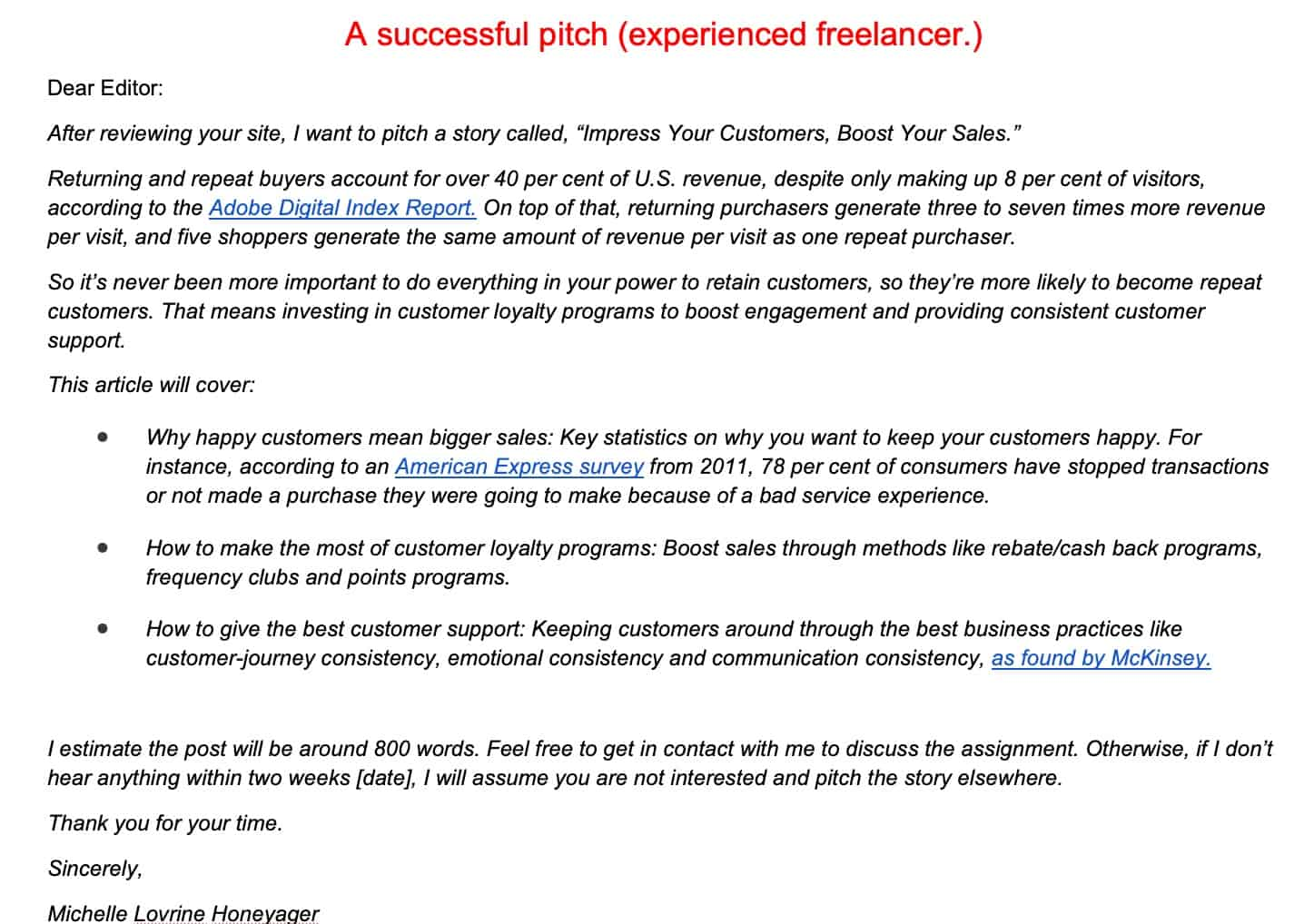 Successful pitch from an experienced freelancer