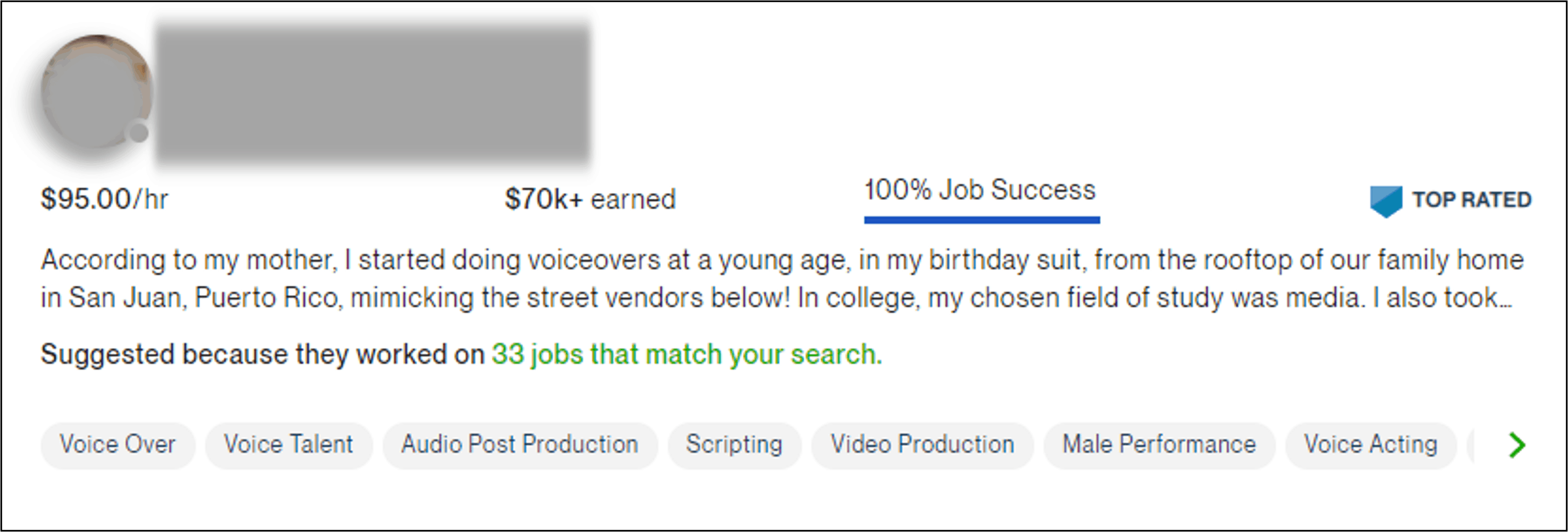 Upwork Top Rated badge on a user profile