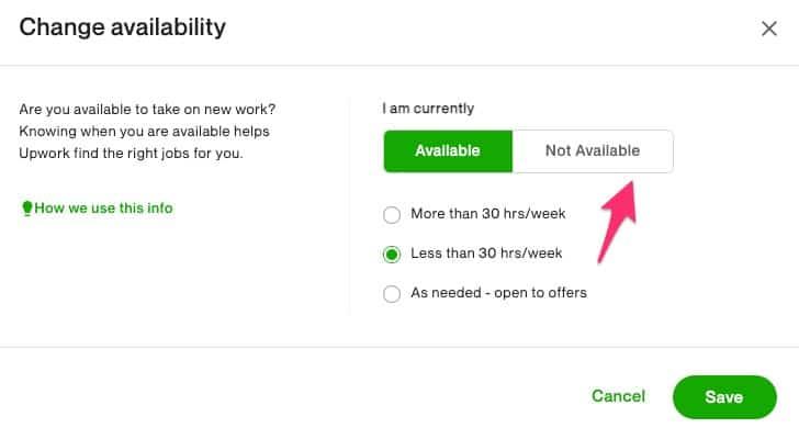 Upwork availability setting