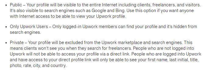 Upwork account visibility options