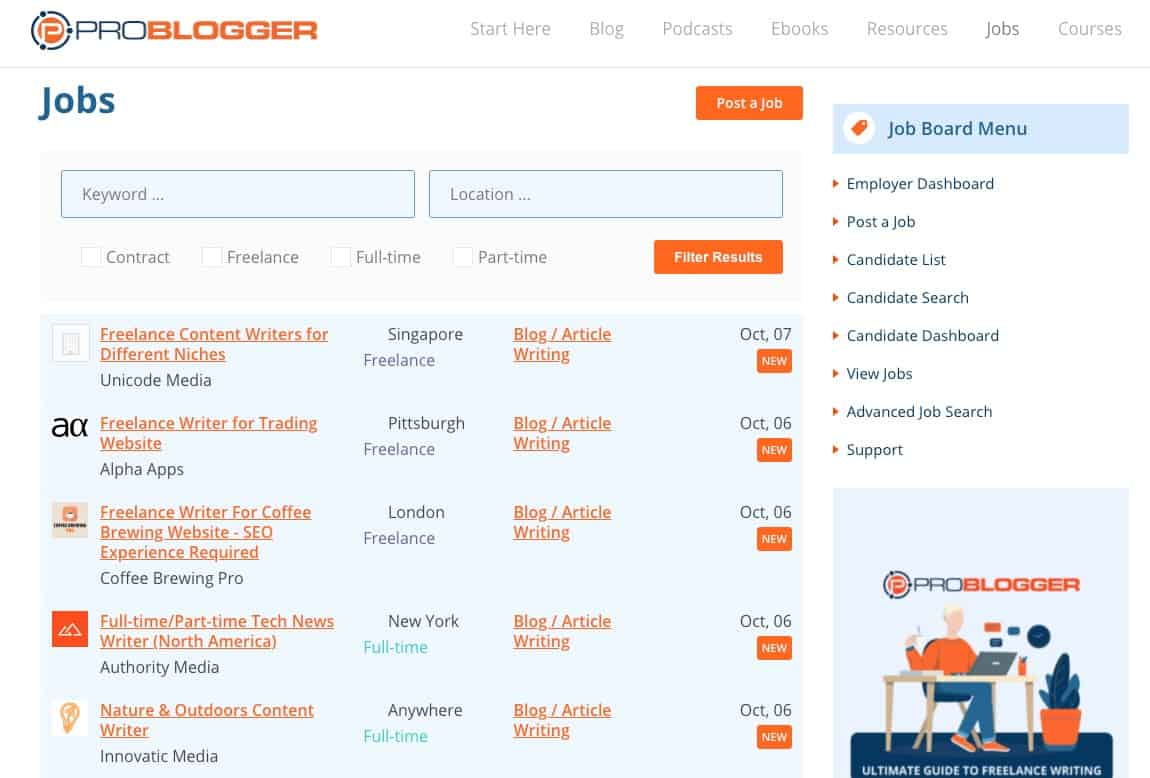 ProBlogger Jobs Home Page
