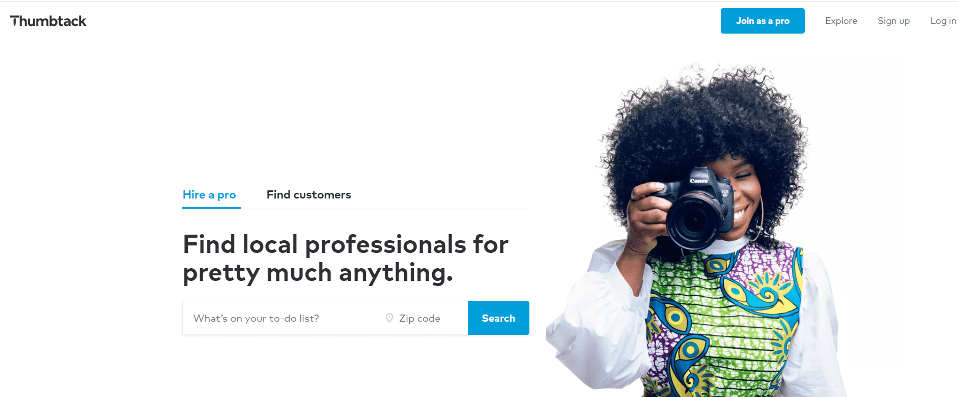 Thumbtack homepage, local professional photographer