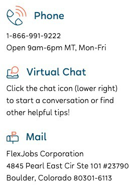 Ways to contact FlexJobs